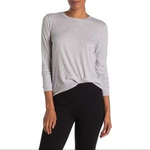 Vince Grey & White Striped Long Sleeve Tee Large